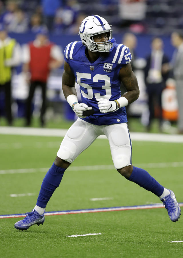 FILE - In this Dec. 23, 2018, file photo, Indianapolis Colts outside linebacker Darius Leonard (53) warms up before an NFL football game against the New York Giants in Indianapolis. On Friday, Darius Leonard and Quenton Nelson were rewarded for their remarkable debut seasons by becoming the second set of rookie teammates to be named first-team All-Pro. Gale Sayers and Dick Butkus were the other players to achieve the feat in 1965 and both went on to have Hall of Fame careers with the Bears. (AP Photo/Darron Cummings, File)