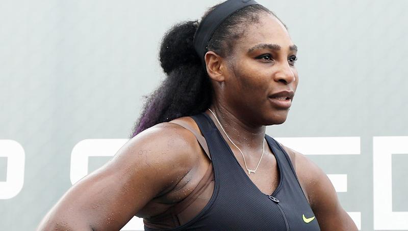 Serena Williams is pictured during her match against Shelby Rogers.