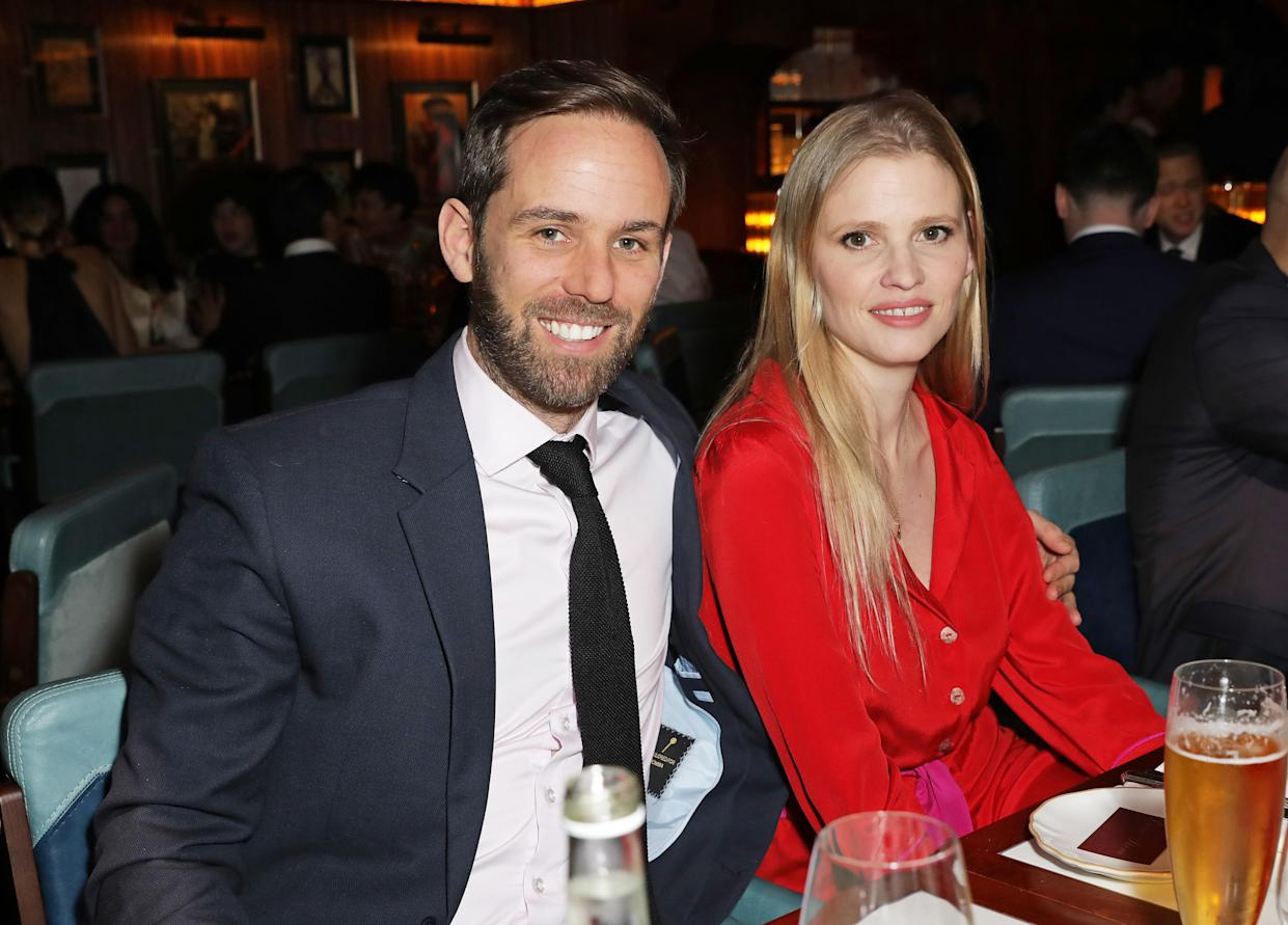 LONDON, ENGLAND - FEBRUARY 12: David Grievson (L) and Lara Stone attend Gymkhana VIP dinner in Mayfair on February 12, 2020 in London, England. (Photo by David M. Benett/Dave Benett/Getty Images for Gymkhana )