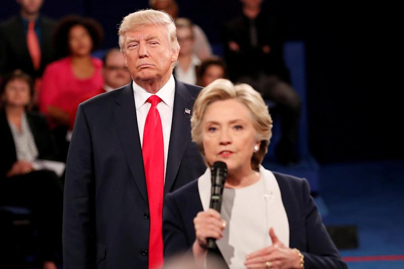 Hillary Clinton takes questions from the audience during one of their heated TV clashes: REUTERS