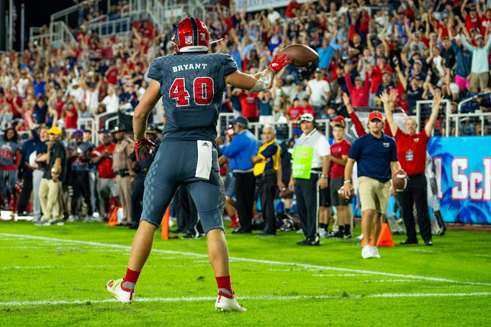 FAU TE Harrison Bryant is a 2020 NFL draft prospect who is on the rise. (Photo by Aaron Gilbert/Icon Sportswire via Getty Images)