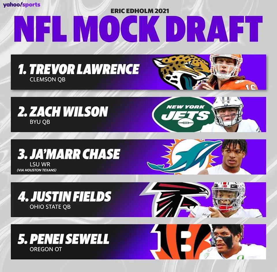 A quick look at the top of the 2021 NFL draft. (Amber Matsumoto/Yahoo Sports)