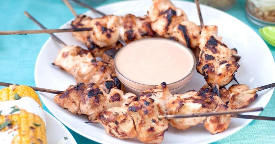 "<p>Take plain-old chicken skewers to the next level with a quick and easy chipotle yogurt sauce for dipping.</p> <p><strong>Get the recipe:</strong> <a href=""https://www.popsugar.com/food/Chipotle-Grilled-Chicken-37754729"" class=""link rapid-noclick-resp"" rel=""nofollow noopener"" target=""_blank"" data-ylk=""slk:chipotle-honey-lime chicken kebabs"">chipotle-honey-lime chicken kebabs</a></p>"