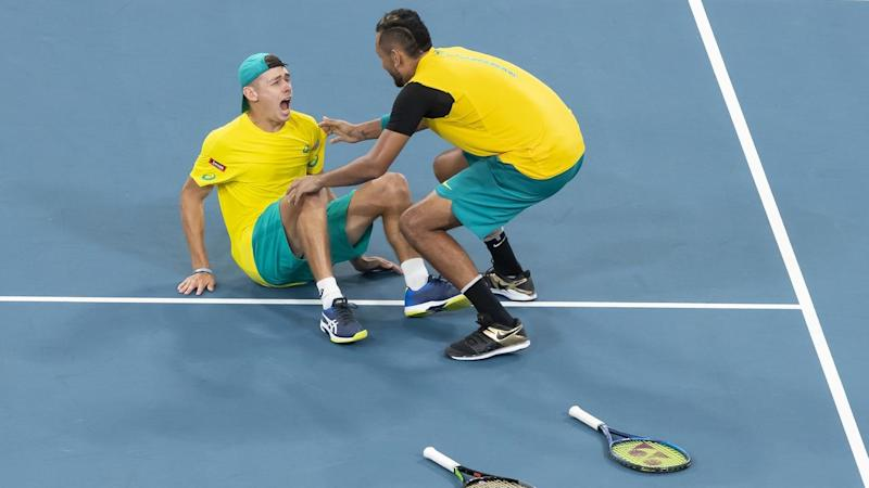 Australia's Alex De Minaur and Nick Kyrgios have beaten Great Britain to advance in the ATP Cup