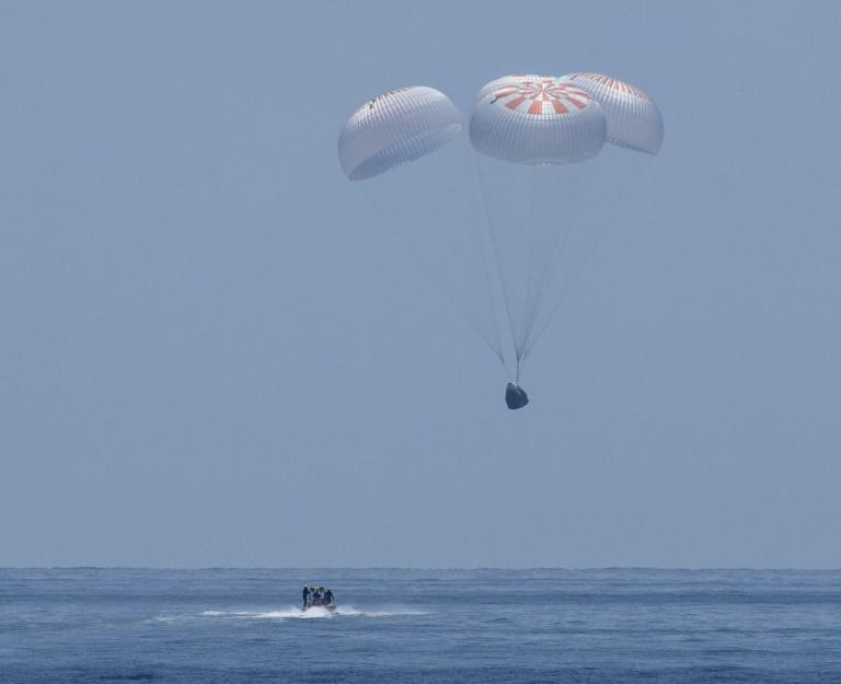 The SpaceX Crew Dragon Endeavour floats down to the Gulf of Mexico on August 2, 2020