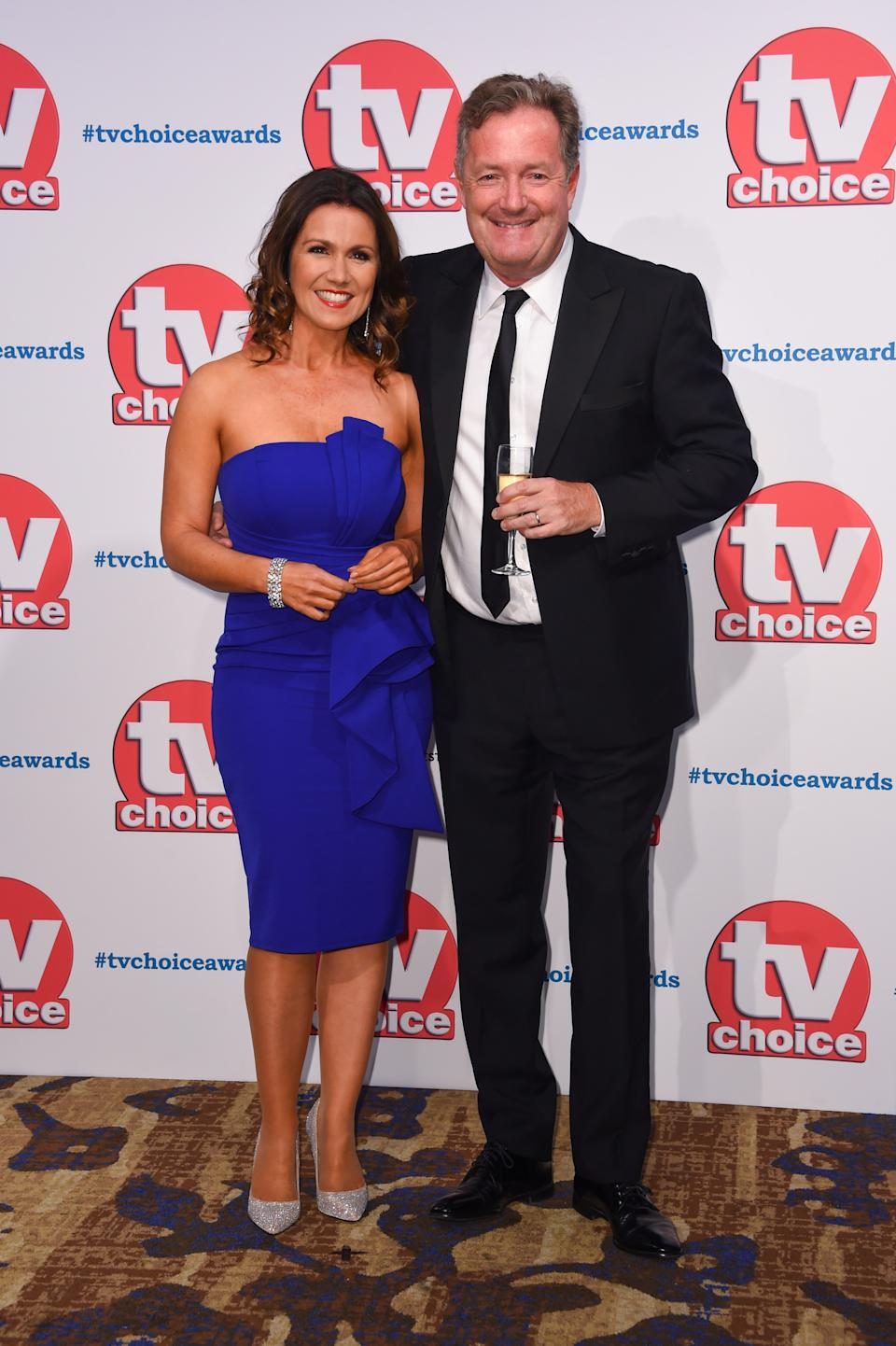 Susanna Reid and Piers Morgan attending the TV Choice Awards held at the Hilton Hotel, Park Lane, London. (Photo by Matt Crossick/PA Images via Getty Images)