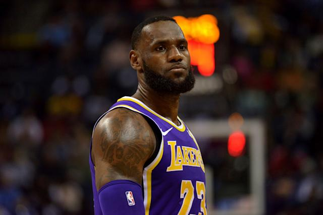 Los Angeles Lakers forward LeBron James (23) stands on the court in the first half of an NBA basketball game against the Memphis Grizzlies Monday, Feb. 25, 2019, in Memphis, Tenn. (AP Photo/Brandon Dill)