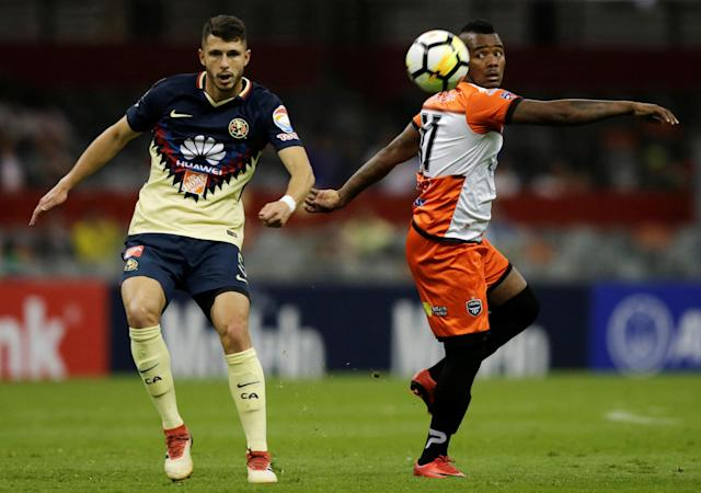 Soccer Football - Club America v Tauro FC- CONCACAF Champions League - Azteca stadium, Mexico City, Mexico - March 6, 2018 - Enrico Small of Tauro FC and Guido Rodriguez of Club America in action. REUTERS/Henry Romero