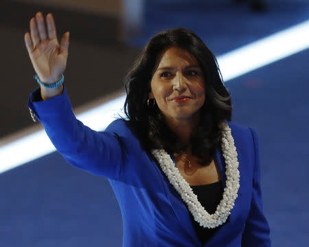 U.S. Representative Gabbard waves after making a nomination speech for Senator Bernie Sanders at the Democratic National Convention in Philedelphia