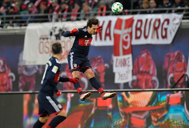 Soccer Football - Bundesliga - RB Leipzig vs Bayern Munich - Red Bull Arena, Leipzig, Germany - March 18, 2018 Bayern Munich's Mats Hummels in action REUTERS/Matthias Rietschel DFL RULES TO LIMIT THE ONLINE USAGE DURING MATCH TIME TO 15 PICTURES PER GAME. IMAGE SEQUENCES TO SIMULATE VIDEO IS NOT ALLOWED AT ANY TIME. FOR FURTHER QUERIES PLEASE CONTACT DFL DIRECTLY AT + 49 69 650050
