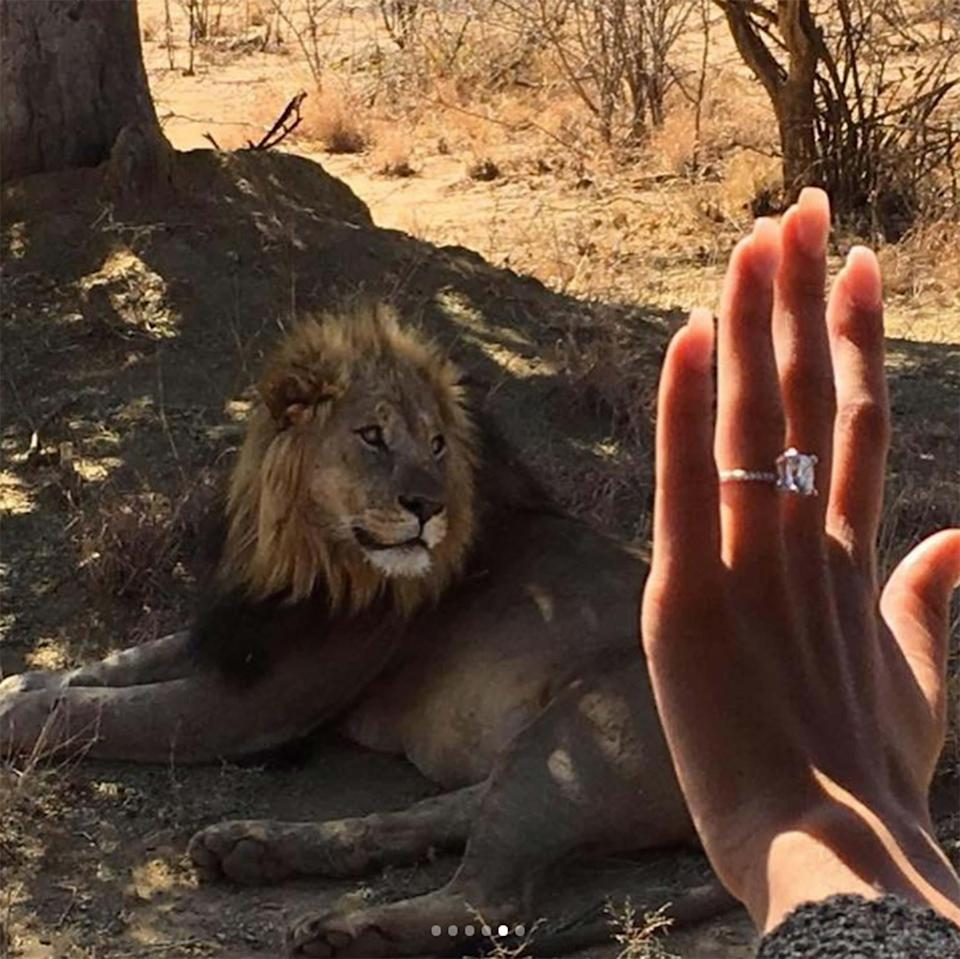 The actor proposed to his longtime girlfriend while on safari in South Africa over the weekend.