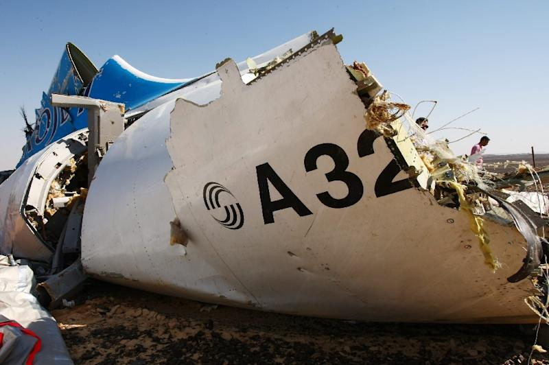 The wreckage of a A321 Russian airliner in Egypt's Sinai Peninsula, blown up in an attack claimed by the Islamic State group in November 2015 (AFP Photo/Maxim Grigoryev)