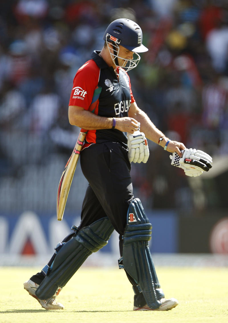 England's captain Andrew Strauss leaves the ground after losing his wicket during the Cricket World Cup Group B match between England and South Africa in Chennai, India, Sunday, March 6, 2011. (AP Photo/Aijaz Rahi)