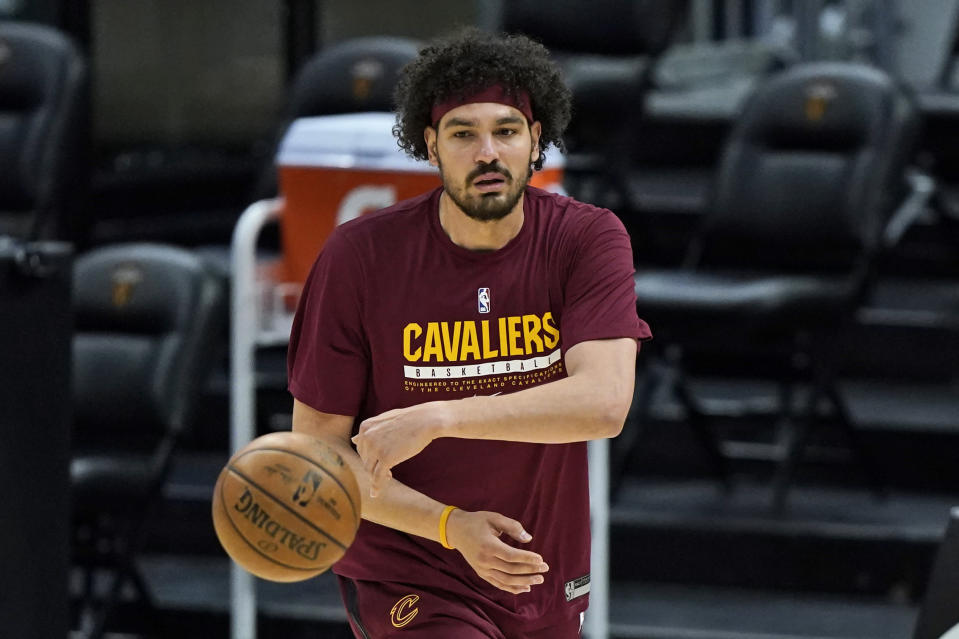 Cleveland Cavaliers' Anderson Varejao warms up before an NBA basketball game against the Phoenix Suns, Tuesday, May 4, 2021, in Cleveland. (AP Photo/Tony Dejak)