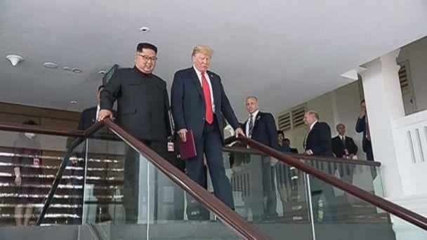PHOTO: President Donald Trump and Kim Jong Un are pictured at their summit in Singapore in video shown on North Korean state television. (APTN)