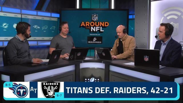 """The """"Around the NFL"""" podcast crew debates whether or not the Tennessee Titans would beat the New England Patriots on a neutral field if the two teams were to play in Week 15 of the 2019 season."""