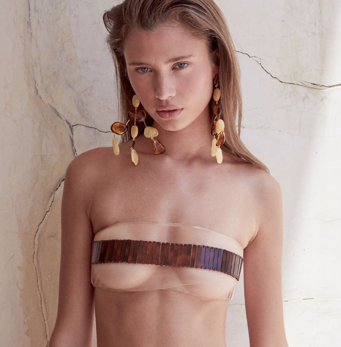 A photo of a model wearing a see-through bikini that 'censors' nipples with a black bar.