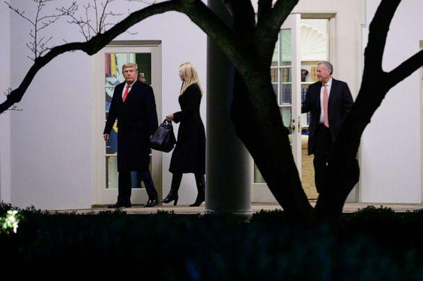 PHOTO: President Donald Trump, Ivanka Trump, and Mark Meadows, White House chief of staff, depart the White House before boarding Marine One in Washington, D.C., Jan. 4, 2021. (Erin Scott/Bloomberg via Getty Images, FILE)