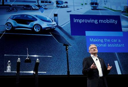 FILE PHOTO - Werner Struth, member of the board of management of Robert Bosch GmbH, talks about automotive technology during a Bosch news conference at the 2017 CES in Las Vegas, Nevada, U.S., January 4, 2017. REUTERS/Steve Marcus/File Photo