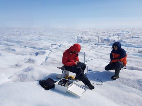 """<span class=""""caption"""">The Greenland Ice Sheet is the world's second largest body of ice</span> <span class=""""attribution""""><span class=""""source"""">Robert Law</span>, <span class=""""license"""">Author provided</span></span>"""