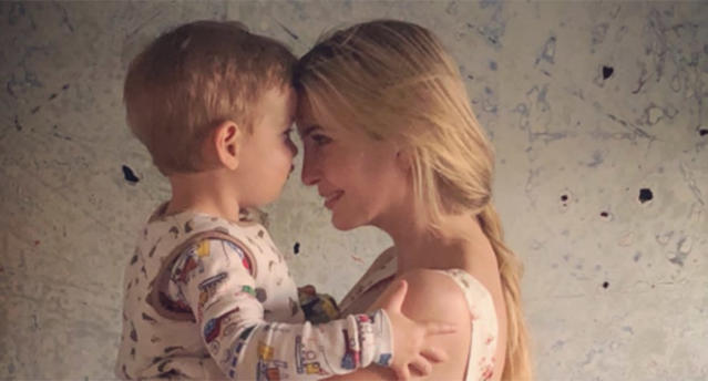 Ivanka Trump is facing online backlash for sharing a photo of herself cuddling her son. (Photo: IvankaTrump via Twitter)