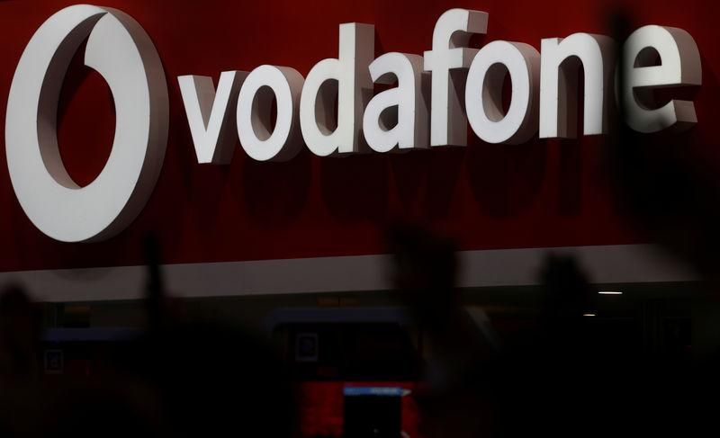 FILE PHOTO: The Vodafone logo is seen at the Mobile World Congress in Barcelona