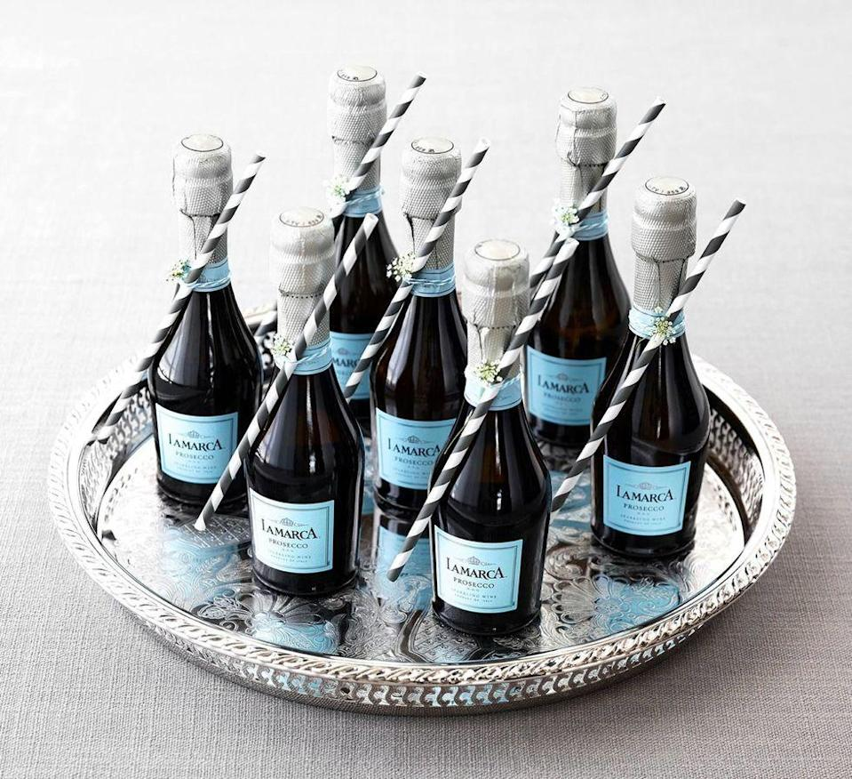 <p>Ditch the big bottles of champagne for personal mini ones. This way, people won't have to wait in line for long and can craft their drink at their table instead. Plus, you can attach cute paper straws to them and labels if the brunch is for a wedding, baby shower, or any other celebration.</p>
