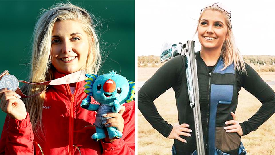 Amber Hill (pictured left) with a medal at the Commonwealth Games and (pictured right) smiling for a photo.