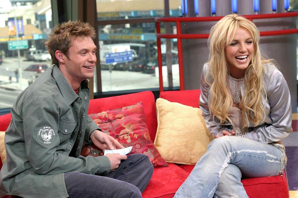 <p>This photo is here mostly because of Ryan Seacrest's hair, but Brit looks pretty incredible in this metallic top with rhinestone fringe.</p>