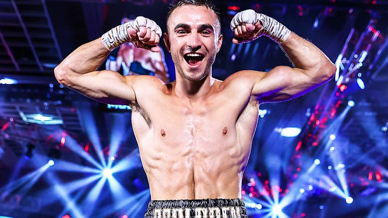 Australian boxer Jason Moloney is pictured posing after defeating Leonardo Baez in their bantamweight bout on June 25, 2020 in Las Vegas.