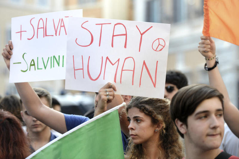 Protests in Rome this week against the government's closed doorpolicy on the reception of migrants.