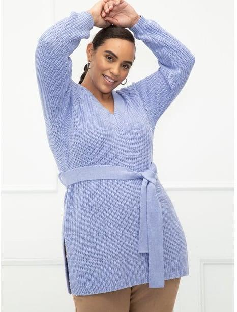 <p>How pretty is this <span>ELOQUII Elements Women's Plus Size V-Neck Belted Tunic Sweater</span> ($25)? The lavender coloring is so in right now, and we can't get enough of that lovely belt detail!</p>