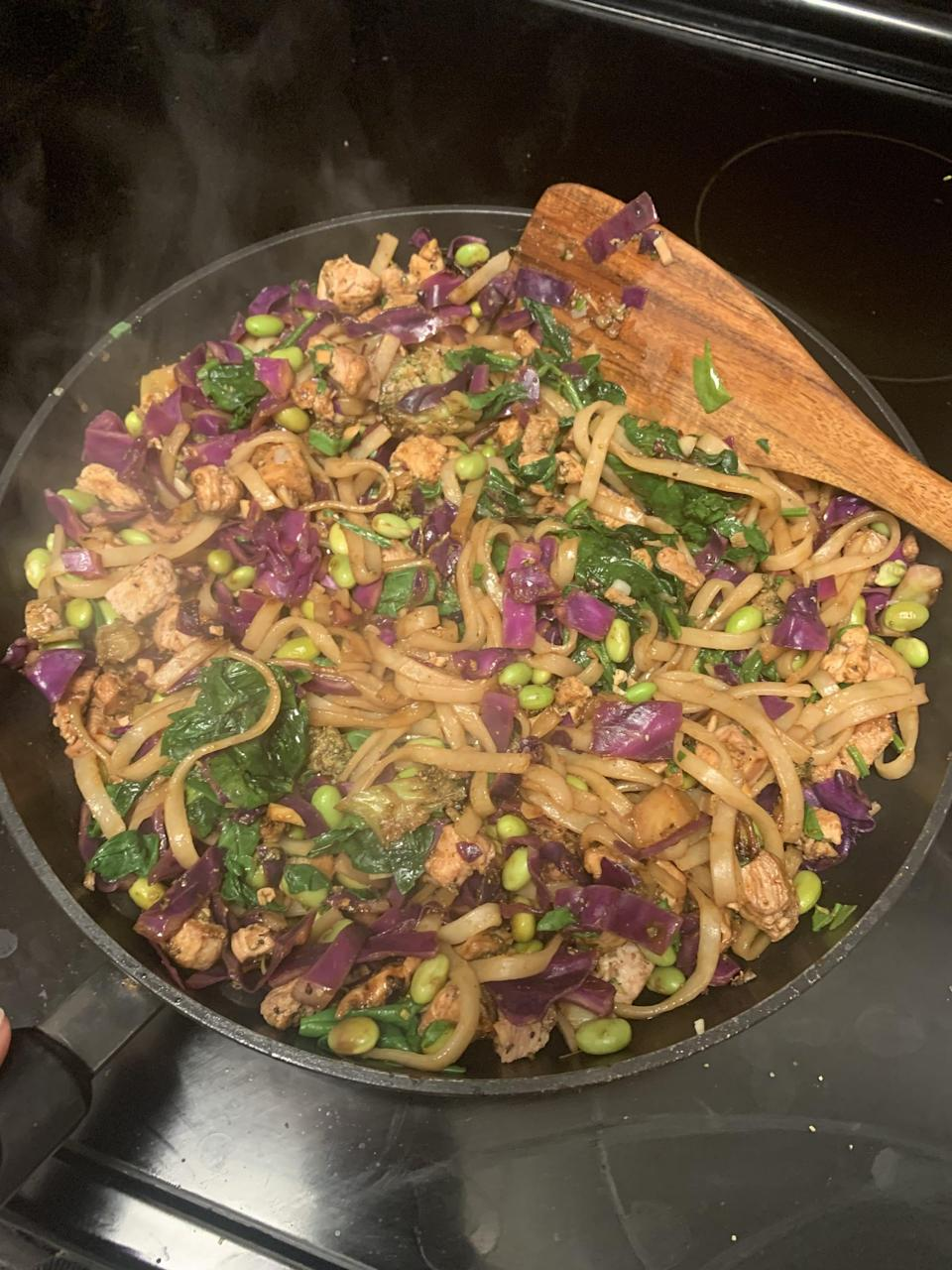 <p>To keep things interesting, I also tried the pasta with a red cabbage, chicken, spinach, and edamame beans covered in a sauce made of soy sauce, Sriracha, honey, and garlic. The noodles absorbed the sauce beautifully and acted as the perfect substitute for glass noodles. While they might not have much flavor on their own, they have a nice texture and hold flavors well, so I will definitely be experimenting with tons of new pasta recipes from now on.</p>