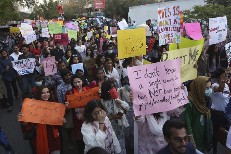 Pakistani activists take part in an International Women's Day rally in Karachi, Pakistan, Sunday, March 8, 2020. Pakistanis held rallies across the country. Officially recognized by the United Nations in 1977, it is celebrated around the world on March 8. (AP Photo/Fareed Khan)