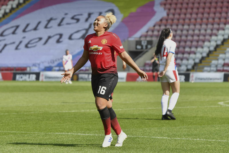 Manchester United's Lauren James celebrates scoring her side's seventh goal of the game during the FA Women's Championship soccer match between Manchester United and Crystal Palace at Leigh Sports Village, England. Saturday April 20, 2019. (Anthony Devlin/PA via AP)