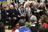 Anglican Primate Fred Hiltz (L), Catholic Archbishop Gerard Pettipas, Prime Minister Stephen Harper, Inuit National President Terry Audla, Assembly of First Nations National Chief Perry Bellegarde, Justice Murray Sinclair, and Governor General David Johnston attend the Truth and Reconciliation Commission of Canada's closing ceremony at Rideau Hall in Ottawa June 3, 2015. REUTERS/Blair Gable