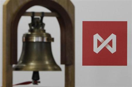 The bell rung at the beggining of trading sessions is seen in front of the logo of the Moscow Exchange after the start of trading in Moscow