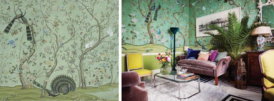 "<p>One of the most iconic and storied chinoiseries, <a href=""https://www.degournay.com/"" rel=""nofollow noopener"" target=""_blank"" data-ylk=""slk:de Gournay's"" class=""link rapid-noclick-resp"">de Gournay's </a>St. Laurent was inspired by an antique set owned by the acclaimed fashion designer Yves Saint Laurent. Installed in Laurent's and Bergé's Paris apartment, the wallpaper was believed to have been depicted in <a href=""https://www.amazon.com/How-They-Decorated-Inspiration-Twentieth/dp/0847847411"" rel=""nofollow noopener"" target=""_blank"" data-ylk=""slk:Cecil Beaton's famed watercolor portrait of Harrison and Mona Williams"" class=""link rapid-noclick-resp"">Cecil Beaton's famed watercolor portrait of Harrison and Mona Williams</a> (later Mona Bismark) in their Palm Beach home. The Williams purchased the papers from interior designer Syrie Maugham in the 1930s, and they changed hands several times before landing in Yves Saint Laurent's possession for good.<br></p>"