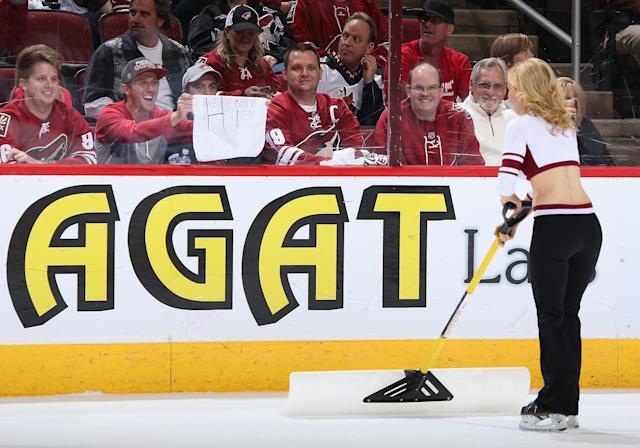 """GLENDALE, AZ - APRIL 13: A fan of the Phoenix Coyotes holds up a sign reading """"Hi"""" to one of the """"Ice Girls"""" during the NHL game against the Dallas Stars at Jobing.com Arena on April 13, 2014 in Glendale, Arizona. The Coyotes defeated the Stars 1-0. (Photo by Christian Petersen/Getty Images)"""