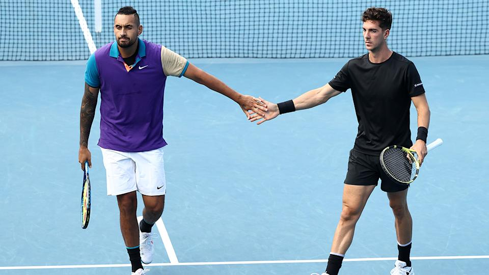 Nick Kyrgios and Thanasi Kokkinakis, pictured here in action against Lloyd Harris and Julian Knowle at the Australian Open.