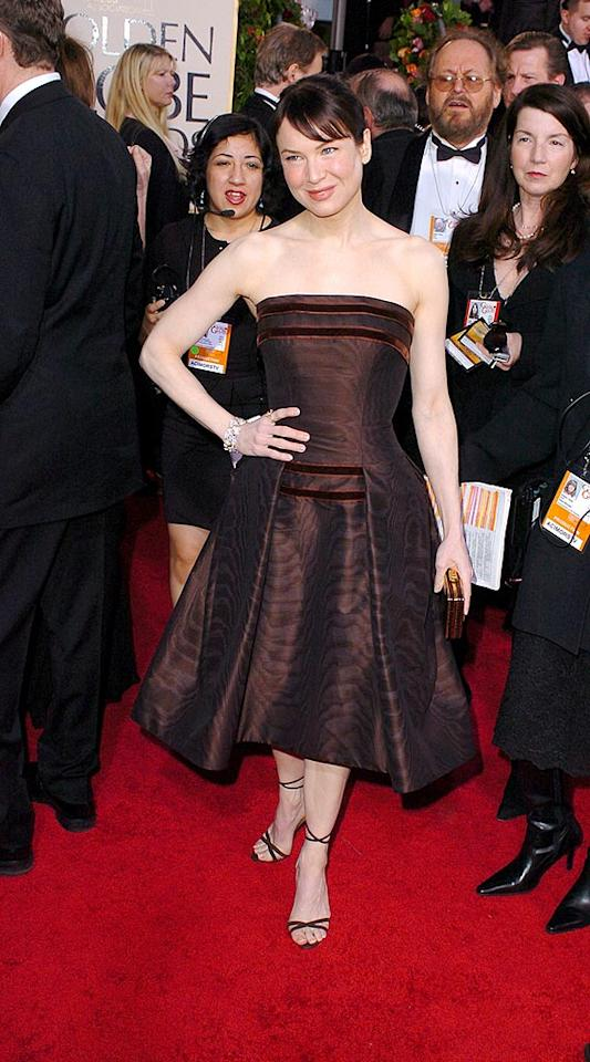 "Renee Zellweger managed to match her hair color to her dress perfectly in 2005. Steve Granitz/<a href=""http://www.wireimage.com"" target=""new"">WireImage.com</a> - January 16, 2005"