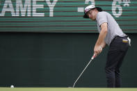 Joel Dahmen follows his putt on the 18th green during the first round of the Sanderson Farms Championship golf tournament in Jackson, Miss., Thursday, Sept. 30, 2021. (AP Photo/Rogelio V. Solis)
