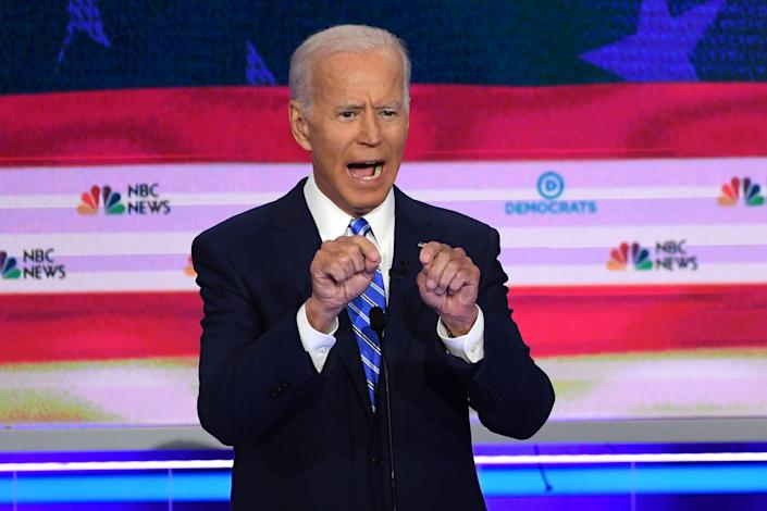 Joe Biden at the second Democratic primary debate of the 2020 campaign. (Photo: Saul Loeb/AFP/Getty Images)