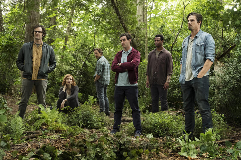 "This image released by Warner Bros. Pictures shows, from left, Bill Hader, Jessica Chastain, James McAvoy, James Ransone, Isaiah Mustafa and Jay Ryan in New Line Cinema's horror thriller ""It: Chapter 2."" (Brooke Palmer/Warner Bros. Pictures via AP)"