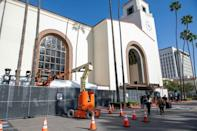 Much of the Oscars will take place at Union Station in Los Angeles -- here, technicians work on preparations for Hollywood's biggest night