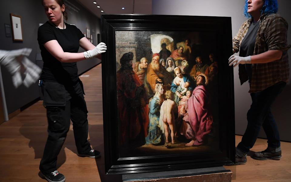 Rembrandt's Let the Little Children Come to Me will be on show again at the Ashmolean - REX/EPA