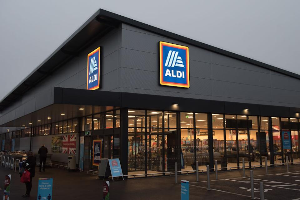 An Aldi supermarket is seen in a photo taken from a carpark.