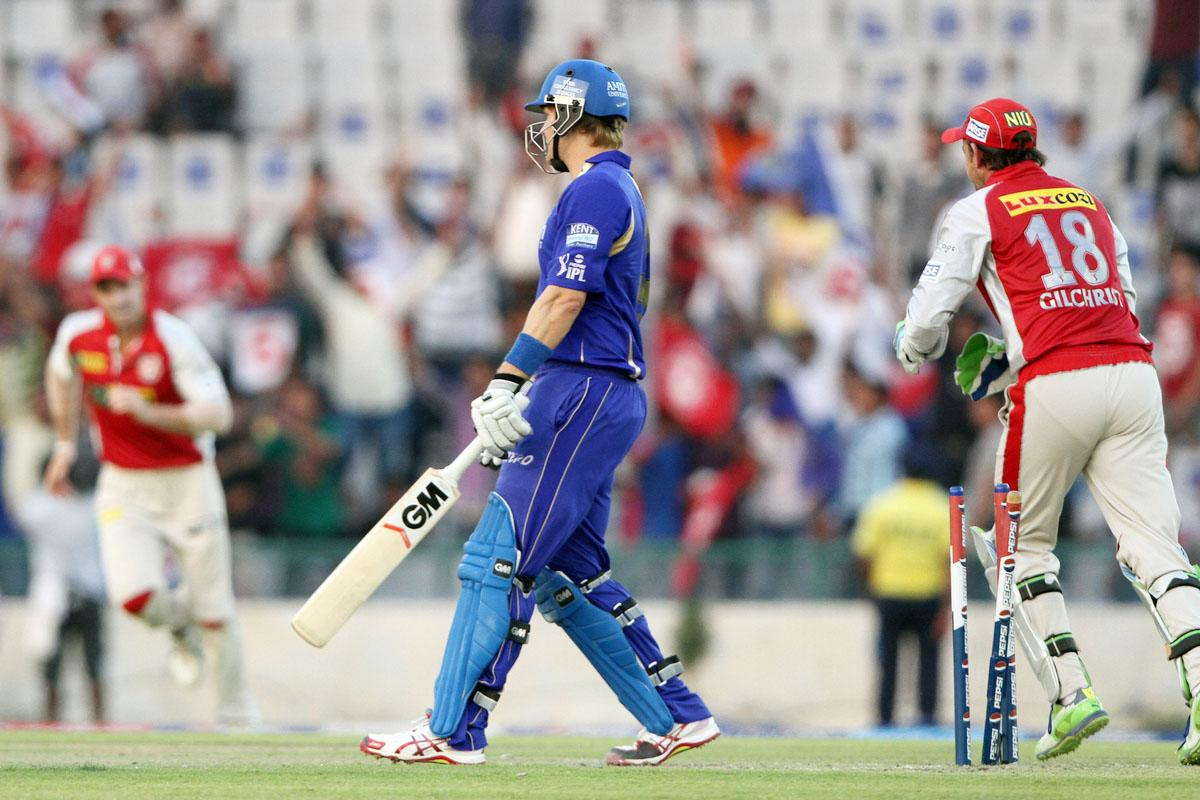 Kings XI Punjab player Piyush Chawla take a wicket of Rajasthan Royals player Shane Watson during match 55 of of the Pepsi Indian Premier League between The Kings XI Punjab and the Rajasthan Royals held at the PCA Stadium, Mohal, India  on the 9th May 2013.(BCCI)