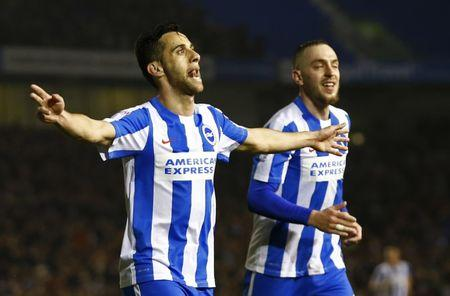 Britain Football Soccer - Brighton & Hove Albion v Derby County - Sky Bet Championship - The American Express Community Stadium - 10/3/17 Sam Baldock celebrates scoring the second goal for Brighton with Jiri Skalak (R). Action Images / Peter Cziborra Livepic