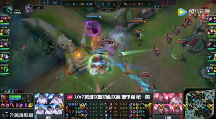 JingDong's mistakes culminated in a 20 minute teamfight loss (lolesports)